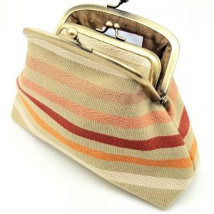 Red and Orange Striped Kisslock Clutch Bag