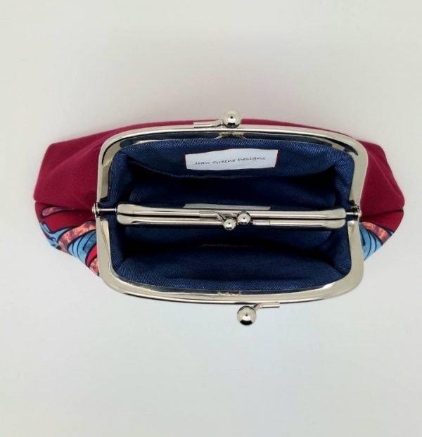 Blue Trellis Kisslock Clutch Bag