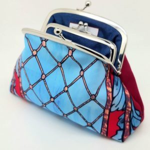 Blue Trellis Kisslock Clutch Bag