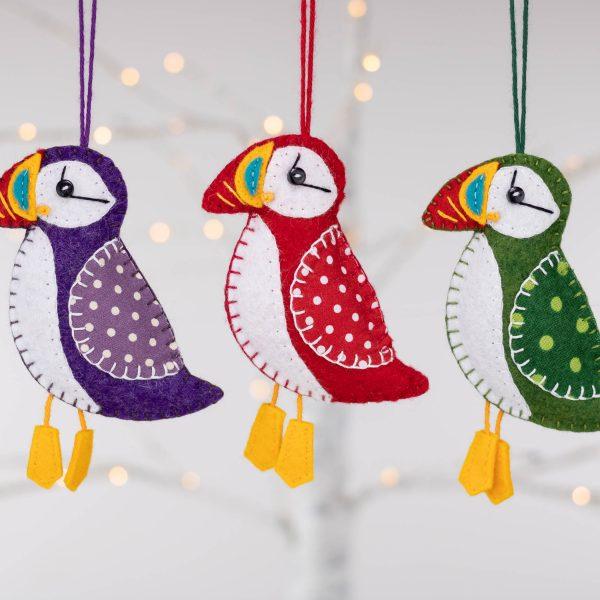 Puffin Felt Ornament - 3 puffins lights 2