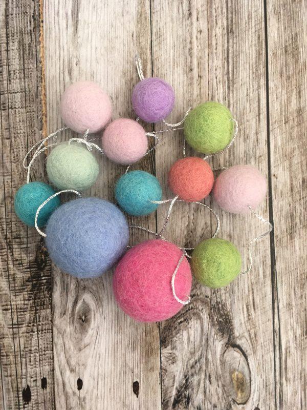 multi coloured felt woolen garland with silver thread