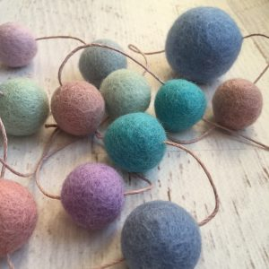 mellow felt wool garland on hemp string