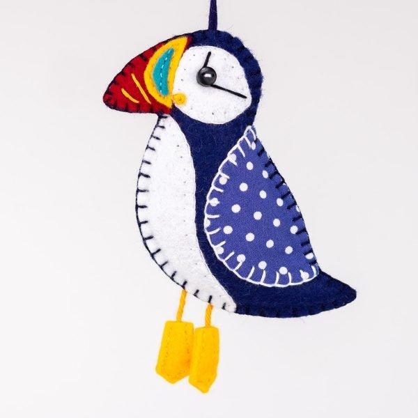 Puffin Felt Ornament - Blue puffin