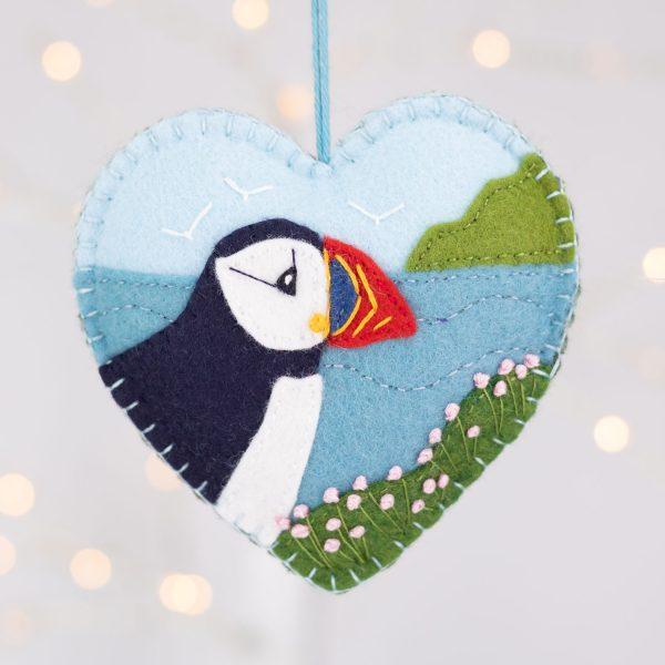 Atlantic Puffin Heart Ornament