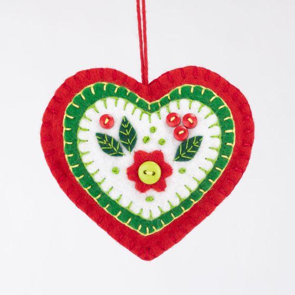 Felt Heart Christmas ornament