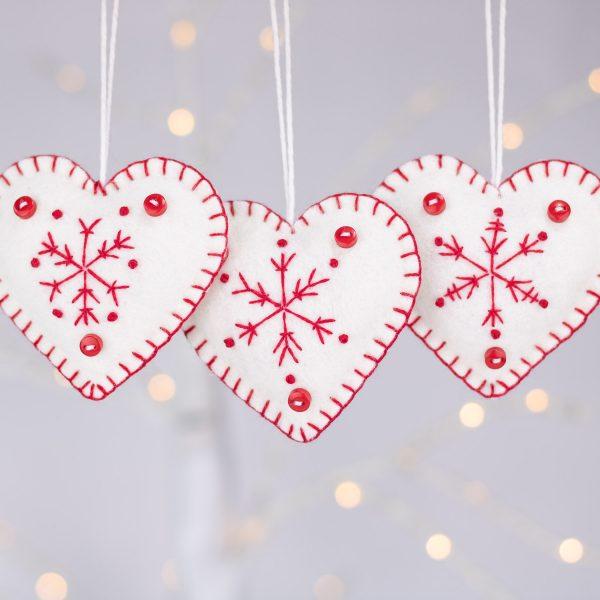 snowflake heart christmas ornament