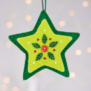 green felt star christmas ornament
