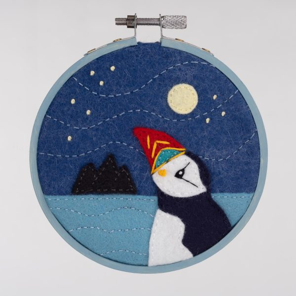 Moon Gazing Puffin Felt Embroidery