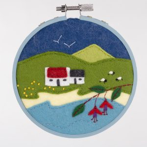 Fuchsia Cottage framed felt embroidery