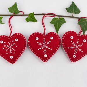 snowflake heart christmas ornament
