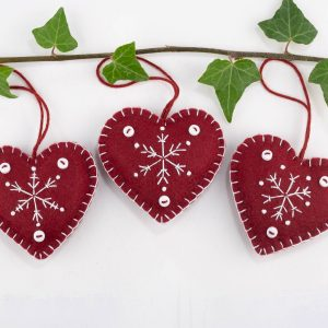 snowflake heart felt christmas ornament