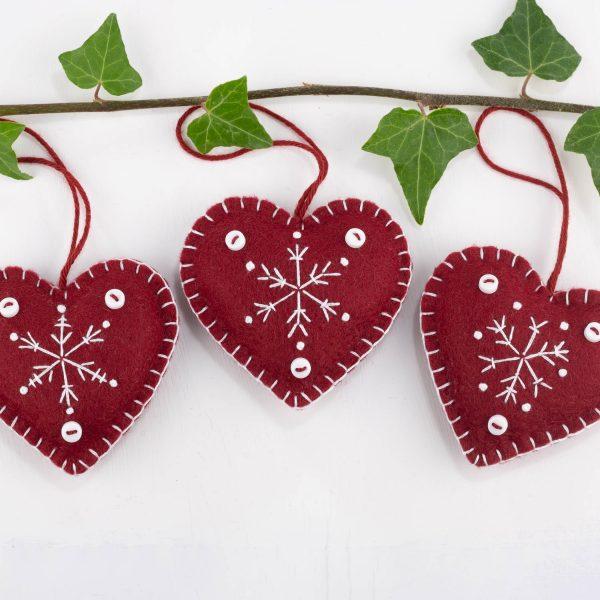 snowflake heart felt christmas ornament