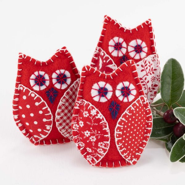 Red and White Owl Christmas Ornaments felt