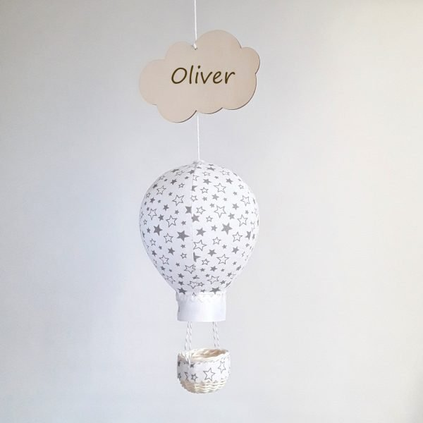 White Balloon Personalised Wall Hanging - White with grey stars Oliver1