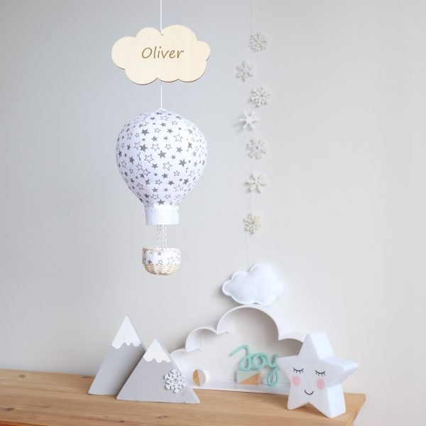 White Balloon Personalised Wall Hanging - White with grey stars room1