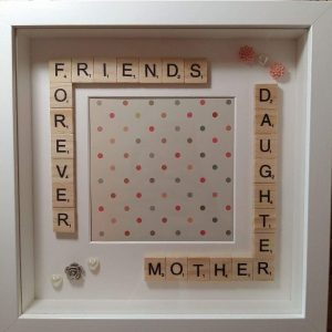 Mother daughter frame with scrabble letters