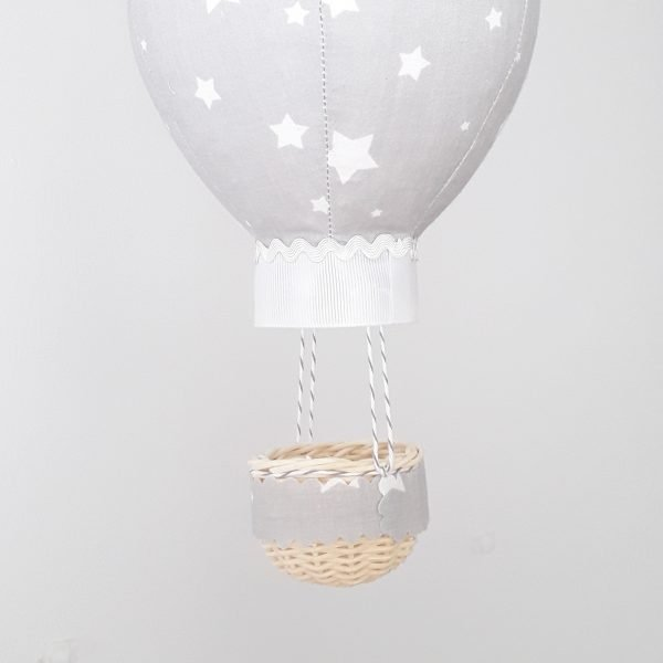 Grey Balloon Personalised Wall Hanging - grey with white stars close