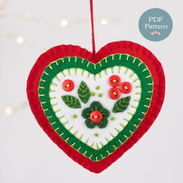 Sewing Pattern Holly Heart Felt Ornament