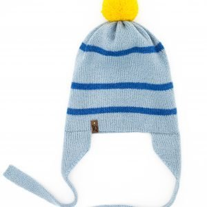Blue earflap woollen hat with yellow pom pom