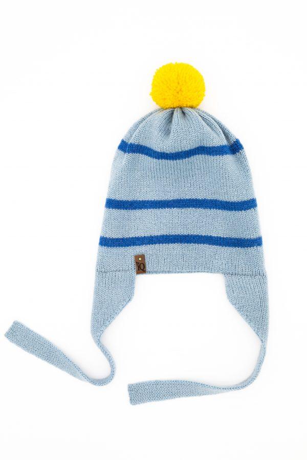 Blue earflap woollen hat with yellow pom pom