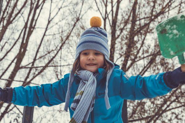 blue earflap hat