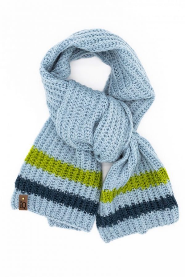 Blue Striped Tuck Stitch Scarf
