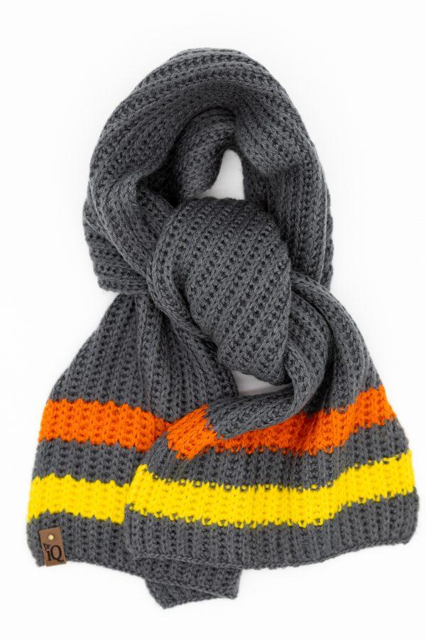 Grey striped tuck stitch scarf