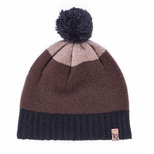 chocolate pom pom beanie hat