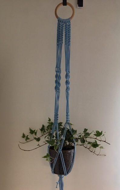 light blue macrame plant hanger image 3