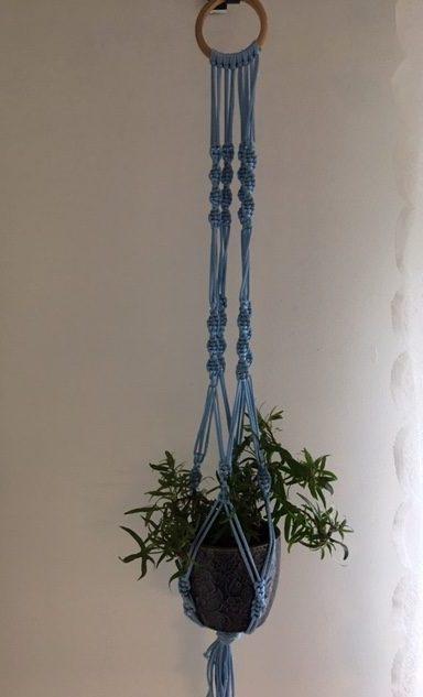 light blue macrame plant hanger image 2