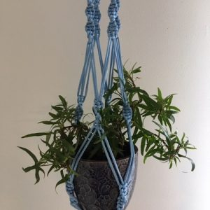 light blue macrame plant hanger