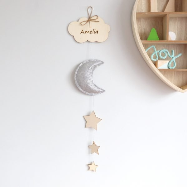 Silver Moon Wooden decoration - moon room