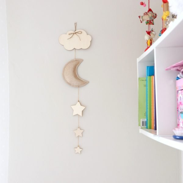 Golden Moon Wooden decoration - moon with shelve