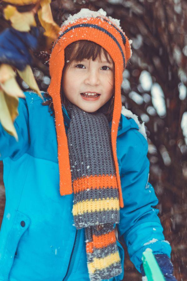orange ear flap woollen hat 2