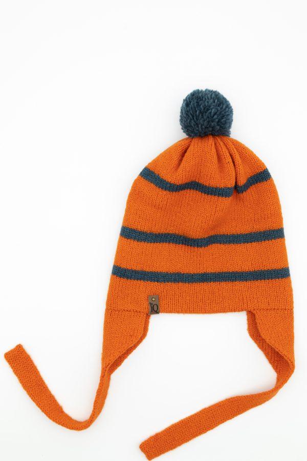 orange ear flap woollen hat