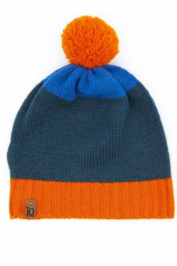 orange pom pom beanie hat