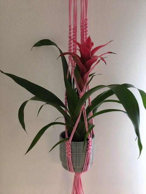 Light Pink Macrame Plant Hanger - pink4 rotated