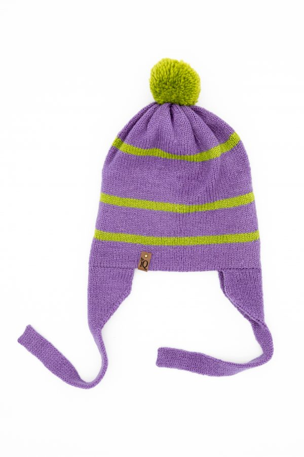 purple earflap woollen hat