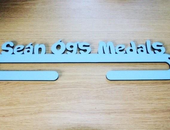 Personalised Medal Holder - 1 Medal holder 1 arm sky blue