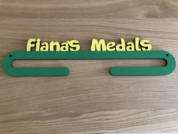 Personalised Medal Holder - 1 Medal holder 1 arm yellowgreen