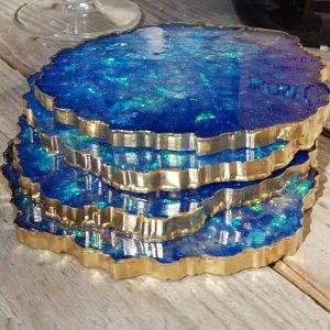 blue resin coasters