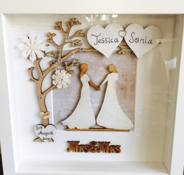 mrs and mrs wedding frame