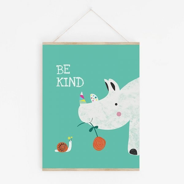 Rhino and Snail Art Print