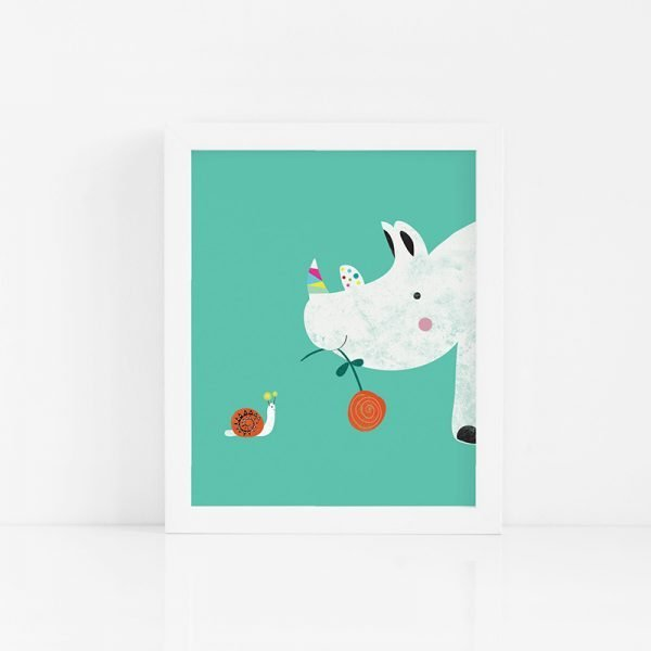 Rhino and Snail 'Be Kind' Print - 02 BABYRHINO Frame