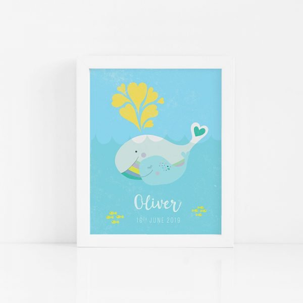 Mama and Baby Whale Art Print - 06 whalemamaandbaby custom frame 1