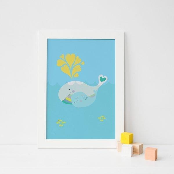 Mama and Baby Whale Art Print - 06 whalemamaandbaby frame