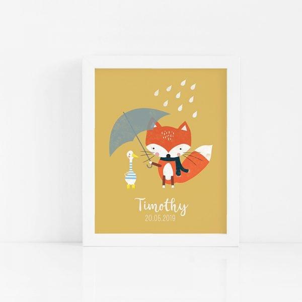 Fox & Friend Nursery Print - 07 RainyDayFox Custom