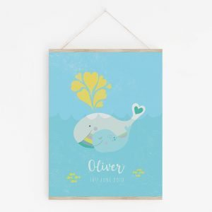 Mama and Baby Whale Art Print