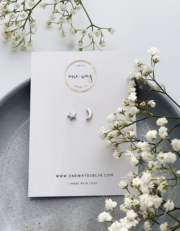 The Moon and Stars Stud Earrings