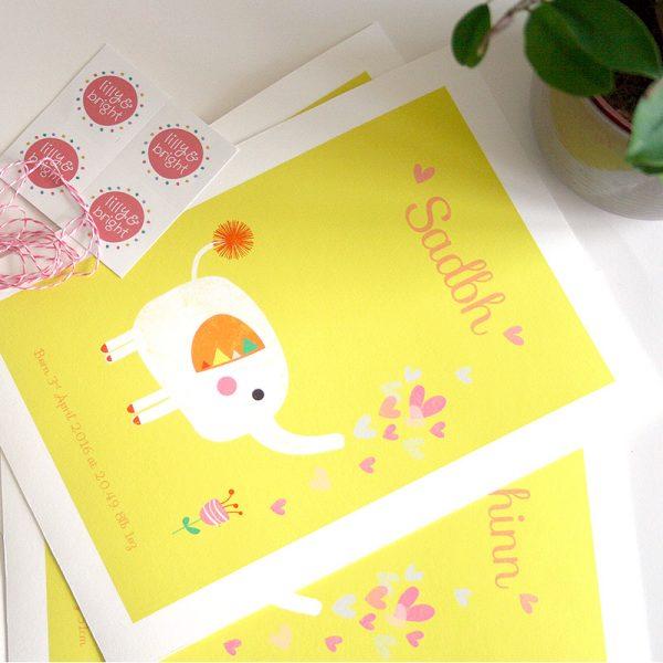 Elephant and Flower Art Print - ElephantFlowerPrint Custom